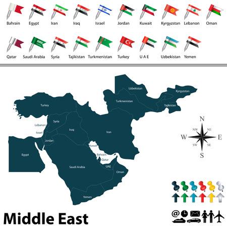 mapa politico: mapa pol�tico de Oriente Medio establecido con banderas botones en el fondo blanco