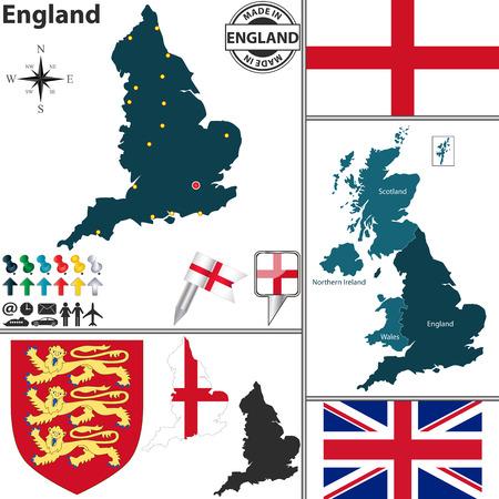 bandiera inghilterra: Mappa di Inghilterra, con stemma e posizione sulla mappa Regno Unito Vettoriali