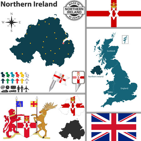 northern ireland:  map of Northern Ireland with coat of arms and location on United Kingdom map
