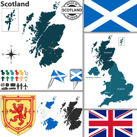 map of Scotland with regions, coat of arms and location on United Kingdom map