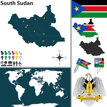 south sudan: Vector of South Sudan set with detailed country shape with region, coat of arms, flags and icons