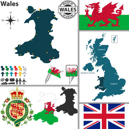 wales: map of Wales with coat of arms and location on United Kingdom map