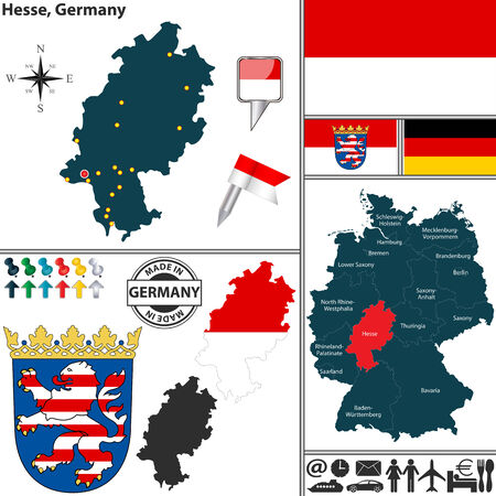 hesse: map of state Hesse with coat of arms and location on Germany map