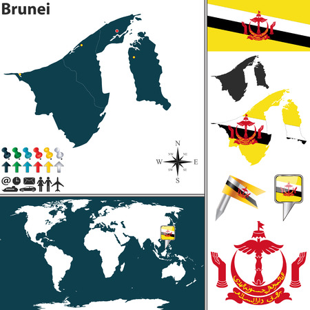map of brunei: map of Brunei with regions, coat of arms and location on world map
