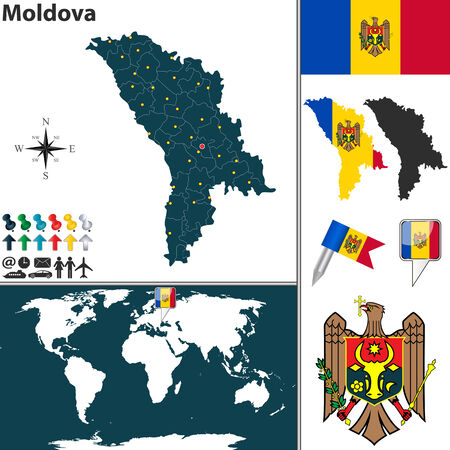 moldovan: map of Moldova with regions, coat of arms and location on world map
