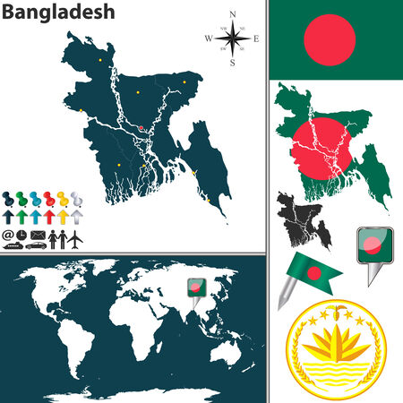 Vector map of Bangladesh with regions, coat of arms and location on world map Vector