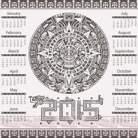 calendar 2015 in aztec style Vector
