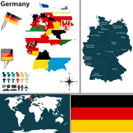 rhine westphalia: map of Germany with regions with flags and location on world map