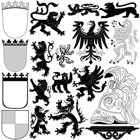 cross arms: Heraldic Royal elements on white background Illustration