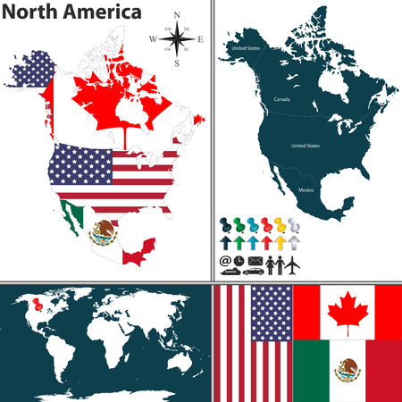 map of North America with flags and location on world map 向量圖像