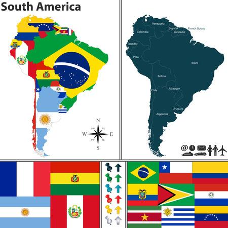 Karte von Südamerika mit Fahnen und Standort auf Weltkarte Vektorgrafik