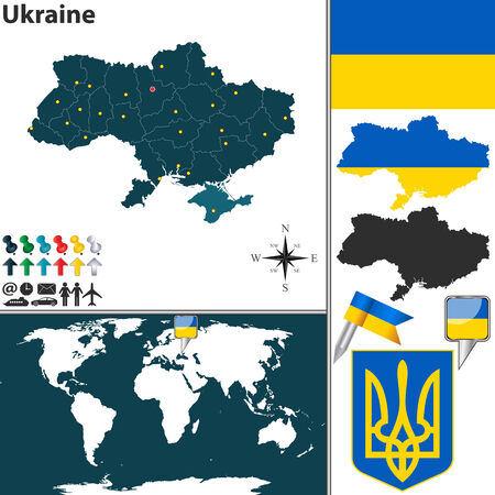 divisions: map of Ukraine with regions, coat of arms and location on world map