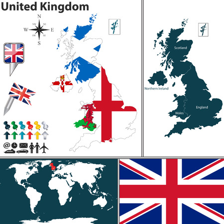 wales: map of United Kingdom with regions with flags and location on world map
