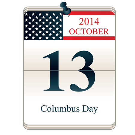 christopher columbus: Vector of Calendar of Christopher Columbus Day 2014 with American flag Illustration
