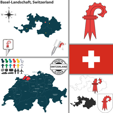 canton: Vector map of canton Basel-Landschaft with coat of arms and location on Switzerland map