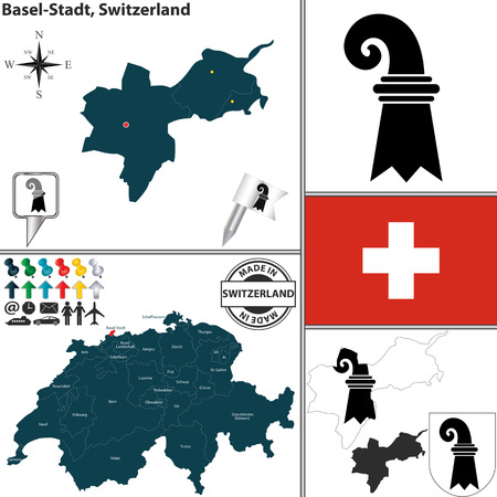 canton: Vector map of canton Basel-Stadt with coat of arms and location on Switzerland map