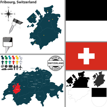 canton: Vector map of canton Fribourg with coat of arms and location on Switzerland map