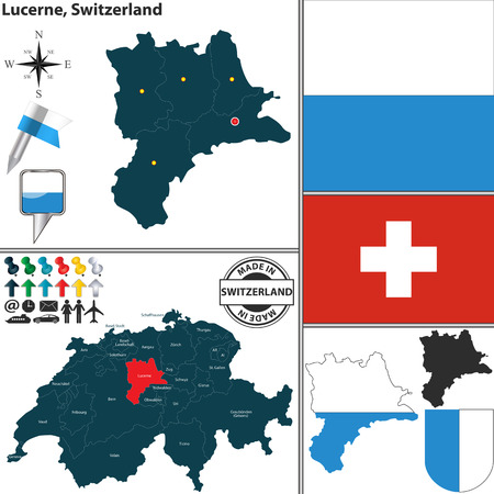 Vector map of state Lucerne with coat of arms and location on Switzerland map