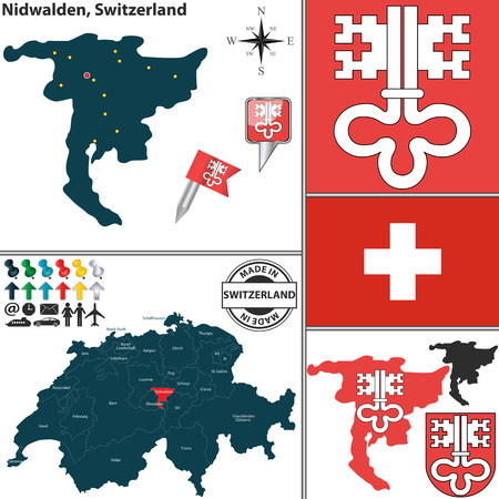 canton: Vector map of canton Nidwalden with coat of arms and location on Switzerland map