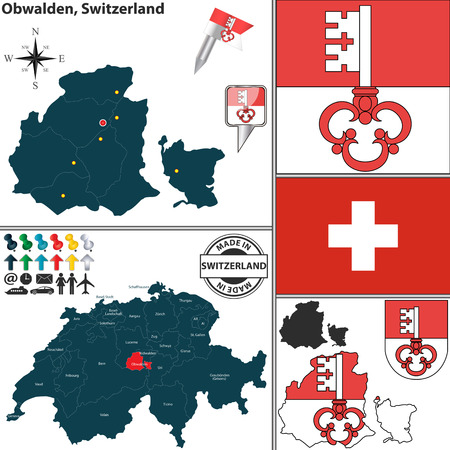 canton: Vector map of canton Obwalden with coat of arms and location on Switzerland map