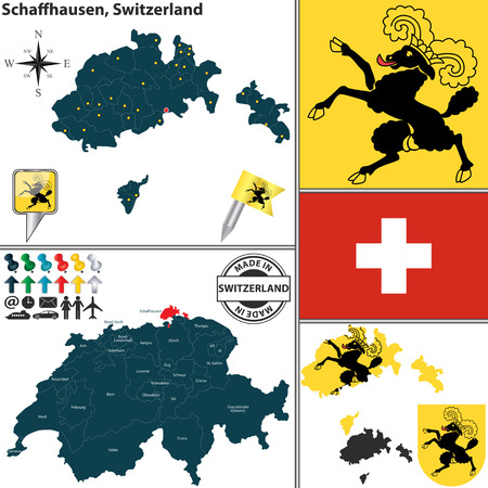 canton: Vector map of canton Schaffhausen with coat of arms and location on Switzerland map