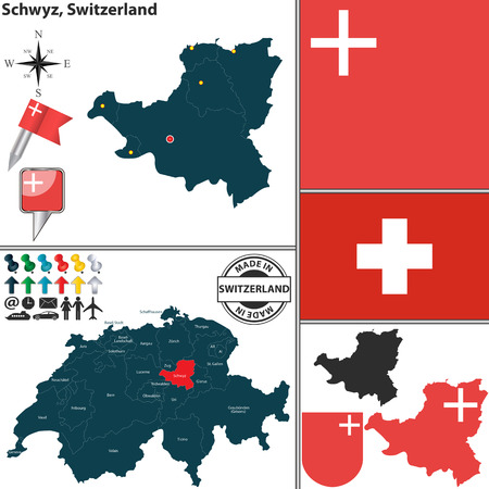 canton: Vector map of canton Schwyz with coat of arms and location on Switzerland map