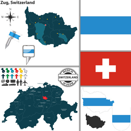 canton: Vector map of canton Zug with coat of arms and location on Switzerland map Illustration