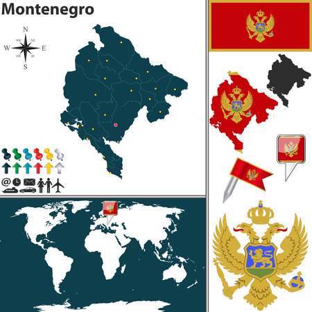 montenegro: Vector map of Montenegro with regions, coat of arms and location on world map