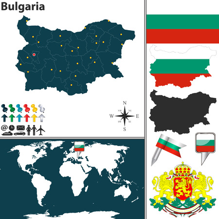 bulgaria flag: Vector map of Bulgaria with regions, coat of arms and location on world map Illustration