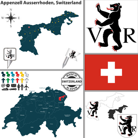 Vector map of canton Appenzell Ausserrhoden with coat of arms and location on Switzerland map