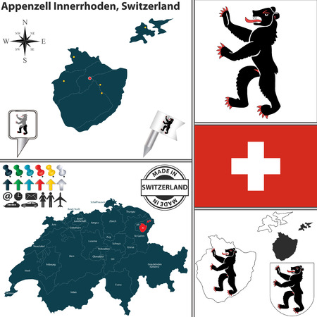 canton: Vector map of canton Appenzell Innerrhoden with coat of arms and location on Switzerland map