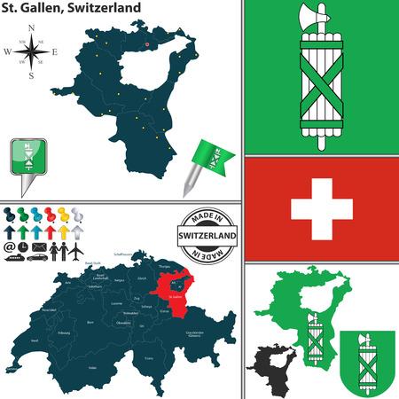 st  gallen: Vector mapa del cant�n de San Gall con el escudo de armas y el lugar en Suiza mapa