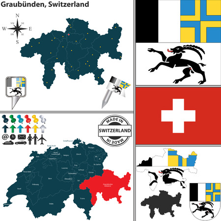 canton: Vector map of canton Graubunden with coat of arms and location on Switzerland map