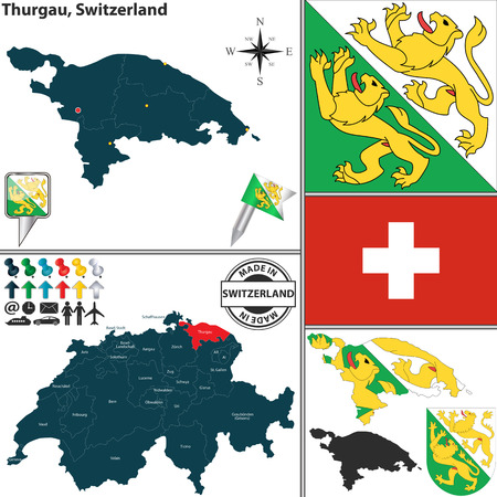 canton: Vector map of canton Thurgau with coat of arms and location on Switzerland map Illustration