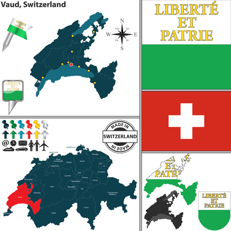 canton: Vector map of canton Vaud with coat of arms and location on Switzerland map Illustration