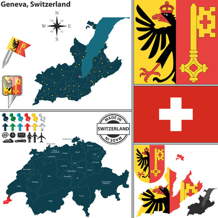canton: Vector map of canton Geneva with coat of arms and location on Switzerland map