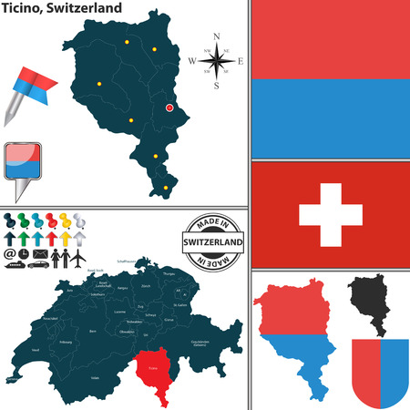 canton: Vector map of canton Ticino with coat of arms and location on Switzerland map
