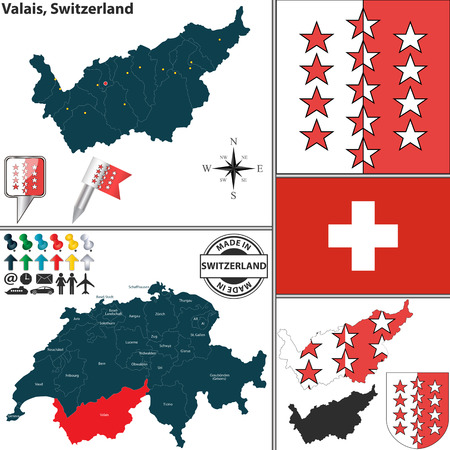 canton: Vector map of canton Valais with coat of arms and location on Switzerland map Illustration