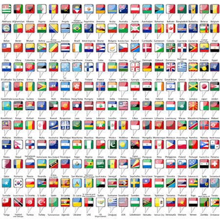 all european flags: Flags of the world on white background Illustration