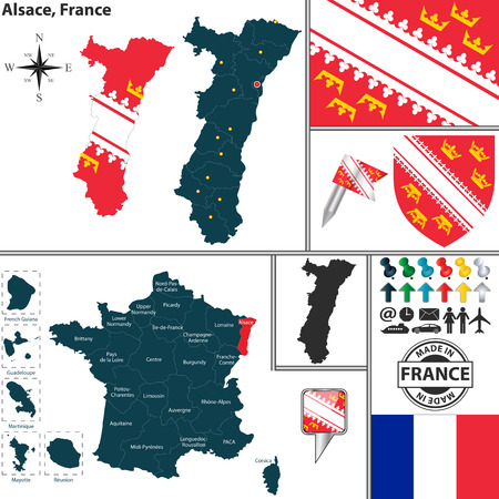 alsatian: Vector map of state Alsace with coat of arms and location on France map Illustration