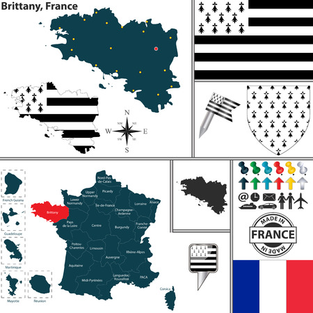bretagne: Vector map of state Brittany with coat of arms and location on France map