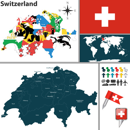 canton: Vector map of Switzerland with regions with flags and location on world map. Illustration