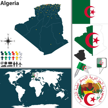 algerian flag: Vector map of Algeria with regions, coat of arms and location on world map