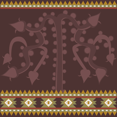 Vector banner with ancient American ornaments