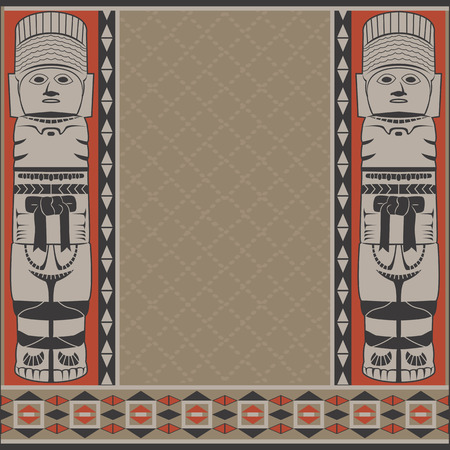 mesoamerican: Vector banner with ancient American ornaments