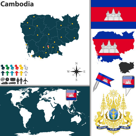 cambodian flag: Vector map of Cambodia with coat of arms and location on world map Illustration