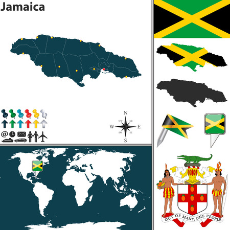 kingston: Vector map of Jamaica with regions, coat of arms and location on world map