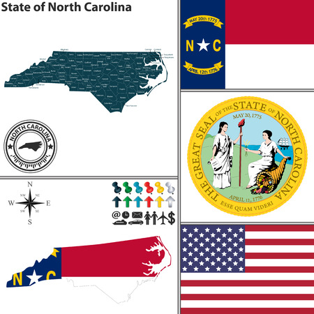 charlotte: Vector set of North Carolina state with flag and icons on white background Illustration