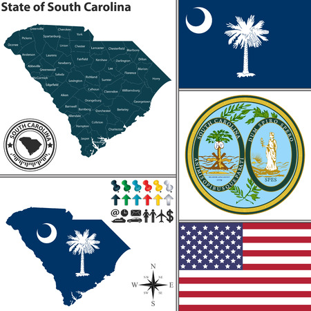 Vector set of South Carolina state with flag and seal Vector