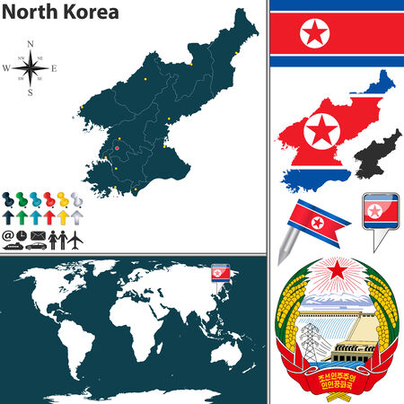north korea: Vector map of North Korea with regions, coat of arms and location on world map